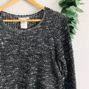 American Eagle Black Speckled Tie Sweater